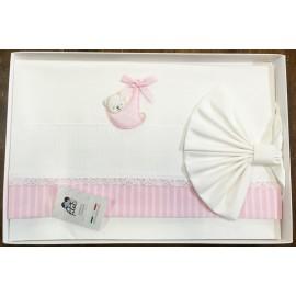 Lenzuolino per culla - Bianco e rosa con orasacchiotto