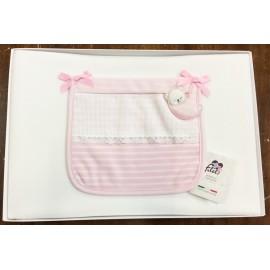 Copertina per culla - Bianca e rosa con orsetto
