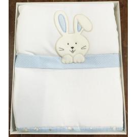 Trapuntina per culla - Azzurra con coniglietto