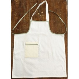 Apron bib - col. white trimmed with sage green