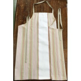 Apron bib - col. sage green striped rossee white
