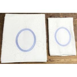 Coppia asciugamani da bagno - col. Bianco ed azzurro