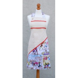 Apron bib Paris with. Orange fantasy