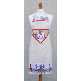 Apron bib Paris with. Orange fantasy (model 2)