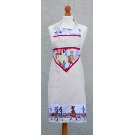 Apron bib Paris with. Fuchsia fantasy (model 2)