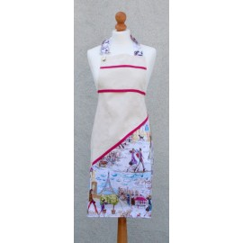 Apron bib Paris with. Fuchsia fantasy (model 1)