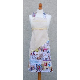 Apron bib Paris with. Yellow fantasy (model 1)