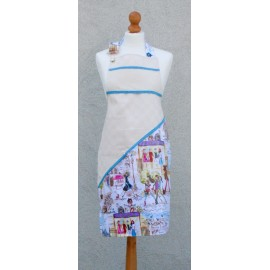 Apron bib Paris with. Blue fantasy (model 1)