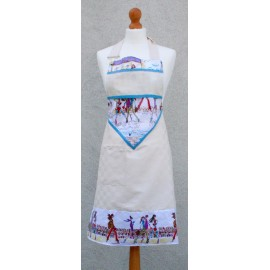 Apron bib Paris with. Blue fantasy (model 2)