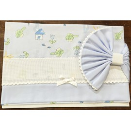 A cover sheet cot bed blue