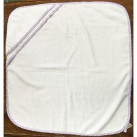 Accappatoio neonato col. Bianco con bordino lilla