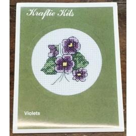 Kit ricamo - fiori viola