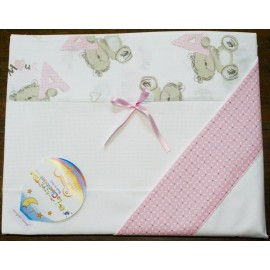 A cover sheet to cot 2 pcs - col. Teddy bear pink