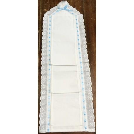 The door rolls toilet paper, blue ribbon