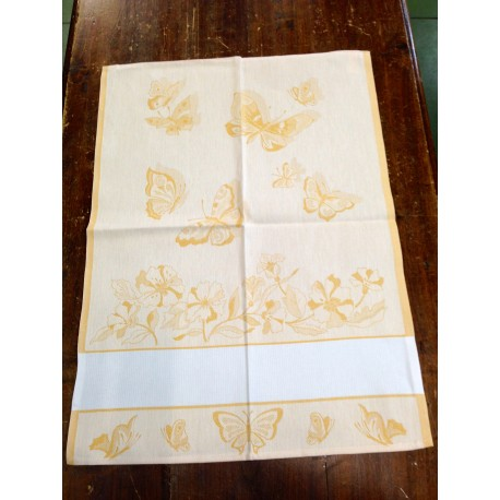 Cloth butterflies and yellow flowers