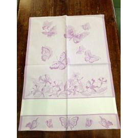 Strofinaccio farfalle e fiori lilla