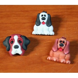 Wooden buttons dogs